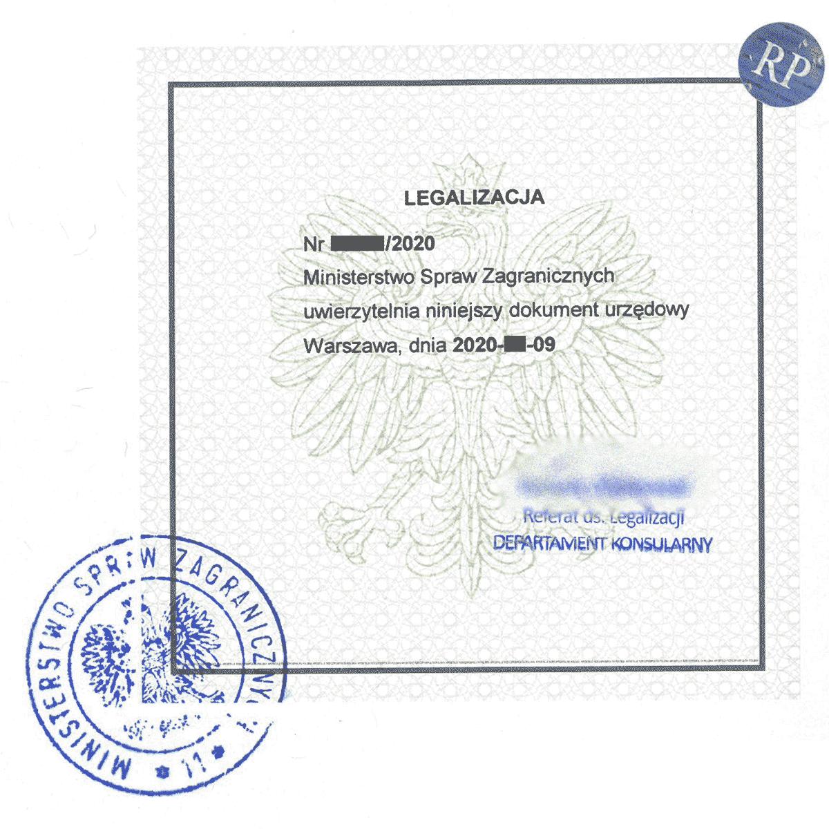 Legalizacja dokumentów - wzór pieczęci