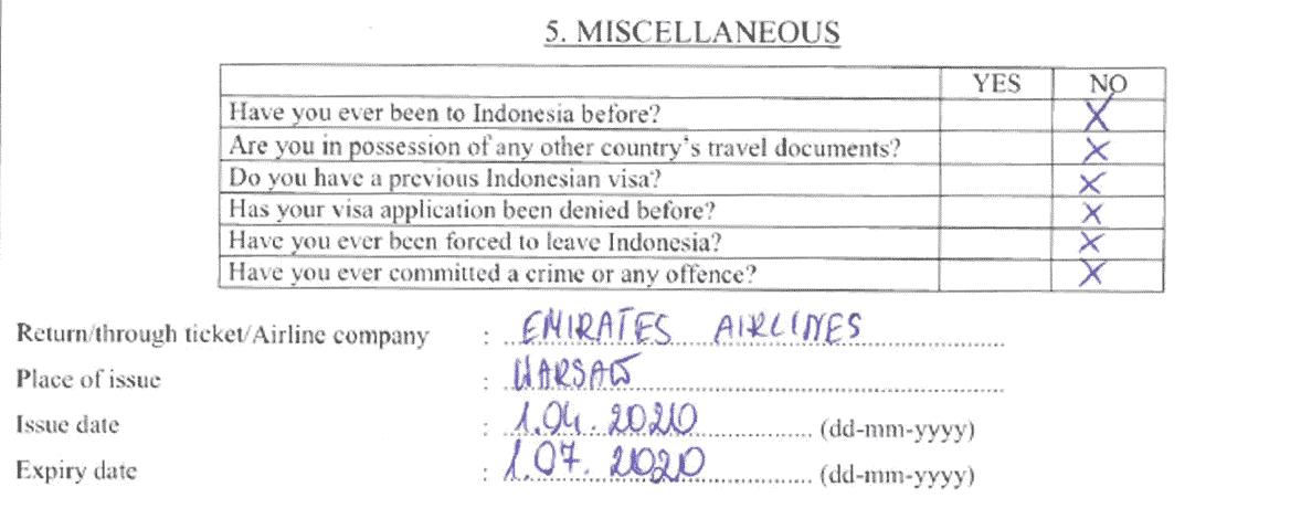 Wniosek wizowy do Indonezji
