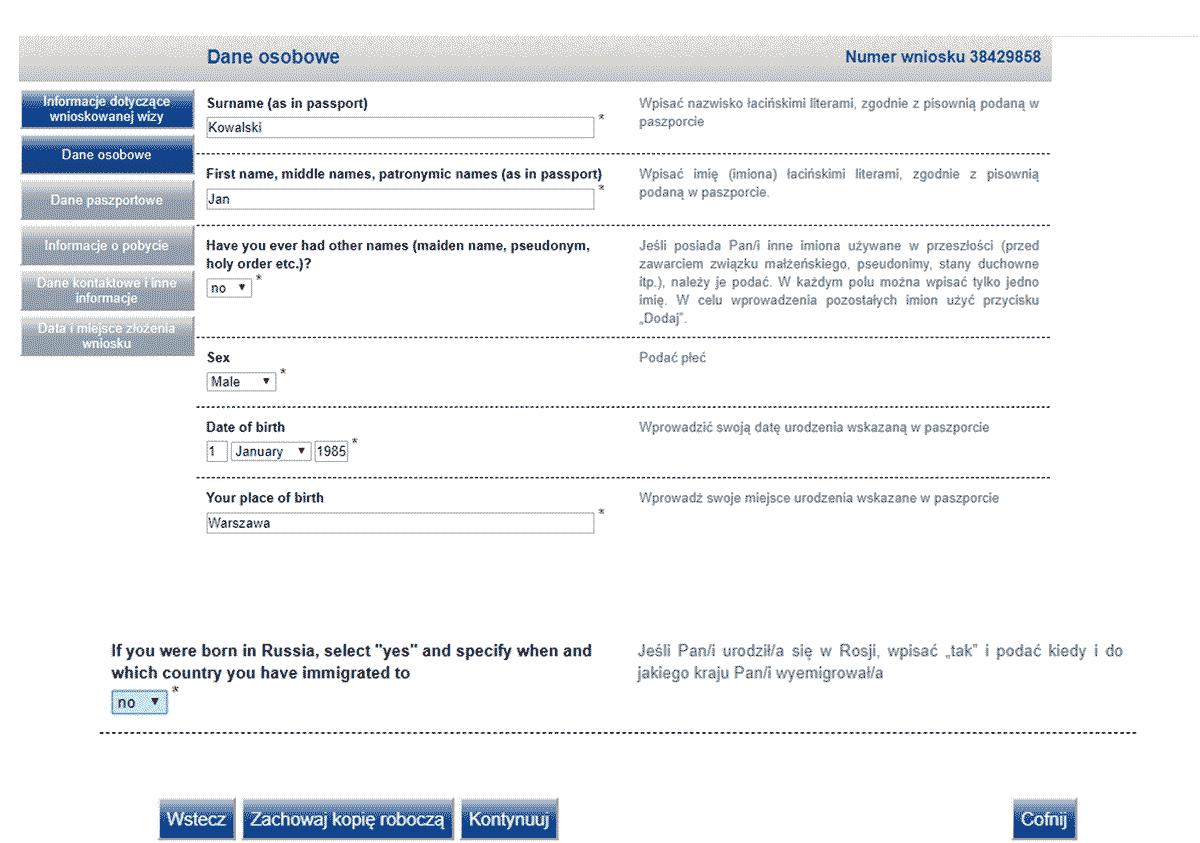 Wniosek wizowy do Rosji