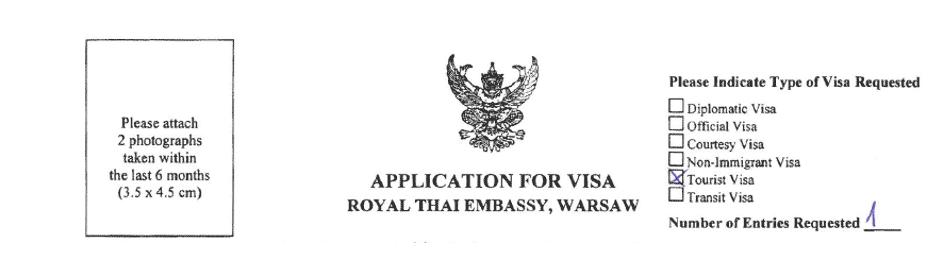 Wniosek wizowy do Tajlandii