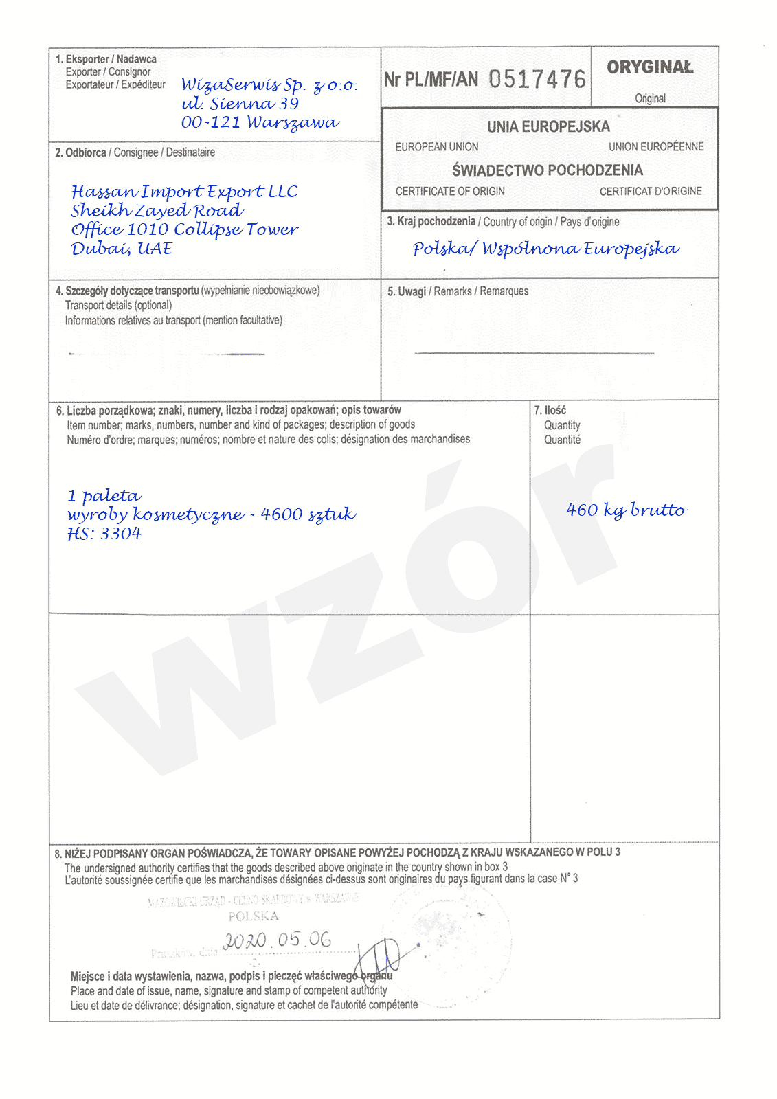 Certificate of origin - Certfikat pochodzenia